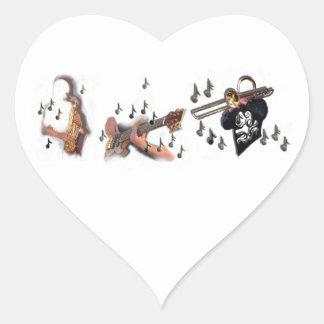 Trio, musicians , abstract guitar, trombone, sax, heart sticker