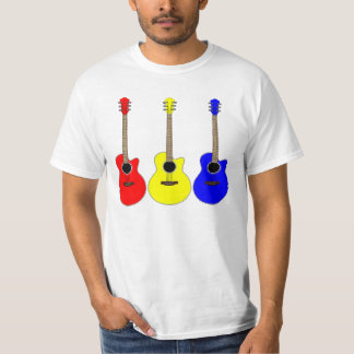 Trio of Acoustic Guitars in Primary Colors T-Shirt