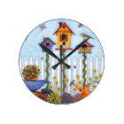 Trio of Birdhouses Round Clock