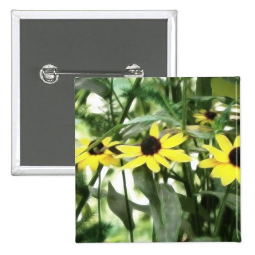 Trio Of Black Eyed Susans Buttons