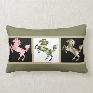 Trio of Camo Horses, on taupe & olive Lumbar Pillow