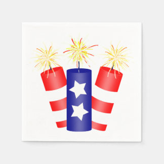 Trio of Firecrackers for the 4th of July Disposable Napkins