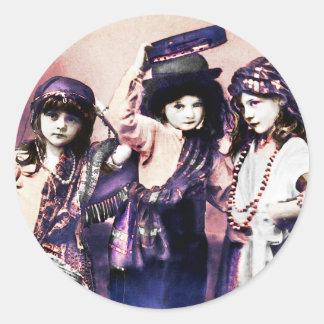 Trio of Gypsy Children Round Sticker