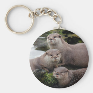 Trio of Otters Keychain