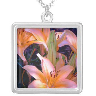 Trio of Soft Orange Lilies Silver Plated Necklace