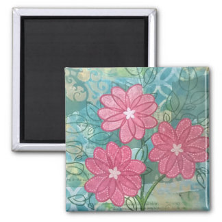 Trio of whimsical flowers square magnet