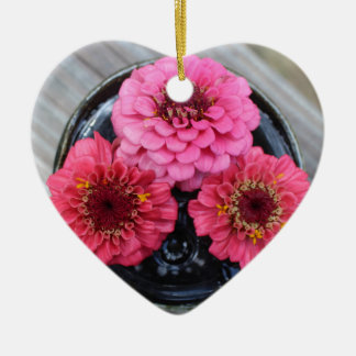 Trio of Zinnias Ceramic Heart Ornament
