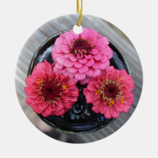 Trio of Zinnias Round Ceramic Ornament