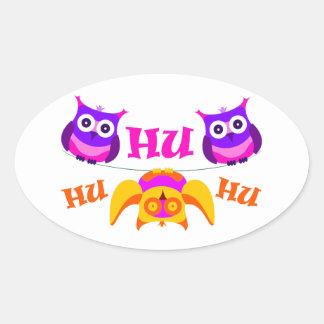 Triolium - owl party oval sticker