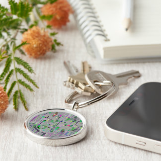 """""""Trip to the Zoo"""" Geometric Art Silver-Colored Round Keychain"""
