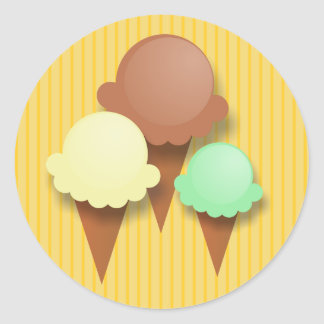 Tripe Ice Cream Cones on Golden Yellow Stripes Round Sticker