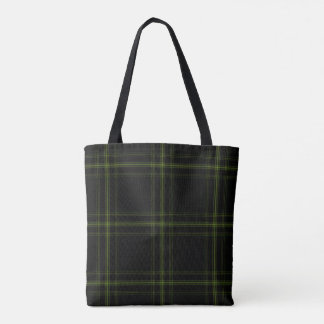 Triple Black Green Tartan Plaid Tote Bag