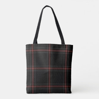 Triple Black Red White Tartan Plaid Tote Bag