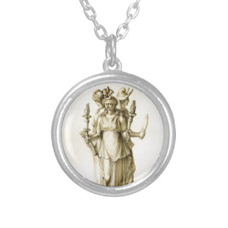 Triple-Bodied Hecate Round Pendant Necklace
