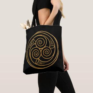 Triple Celtic Knot Swirl Mandala Tote Bag