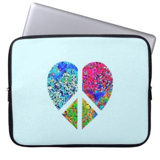 Triple color floral peace love heart zen laptop sleeve