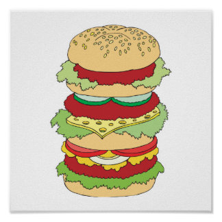 triple decker hamburger poster