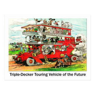 Triple-decker Touring Vehicle of the Future Postcard