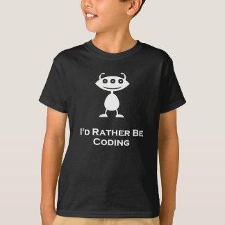 Triple Eye Id rather be coding white T-Shirt