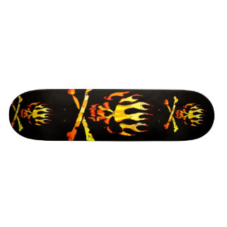 triple flame skull custom skateboard