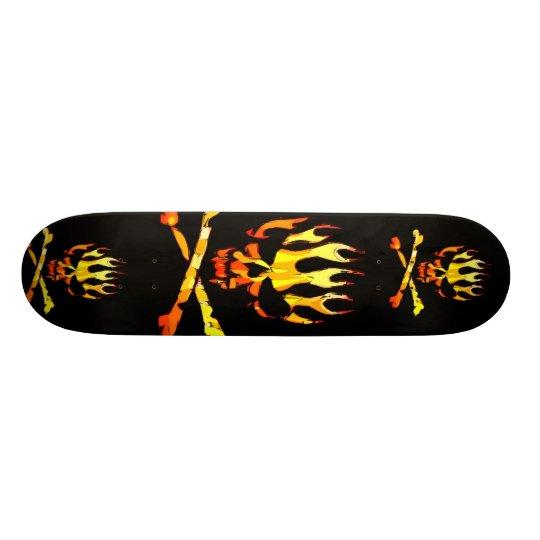 triple flame skull custom skateboard
