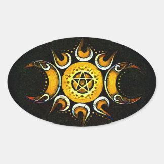 Triple Goddess Crowned - Dark Oval Sticker