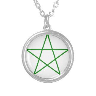 Triple-Goddess-Pentagram Silver Plated Necklace