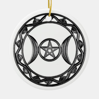 Triple Goddess with Pentagram Ceramic Ornament