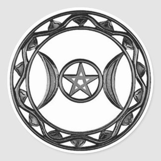 Triple Goddess with Pentagram Classic Round Sticker