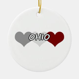 Triple Heart Ohio Ceramic Ornament