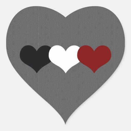 Triple Heart Heart Stickers