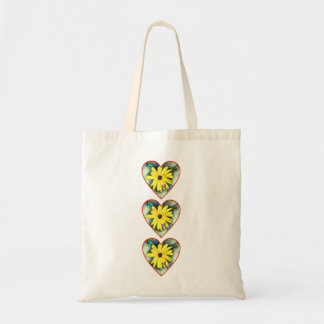 Triple hearts daisies and butterflies tote bag