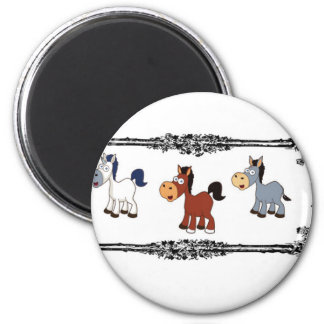 triple horse frame 2 inch round magnet
