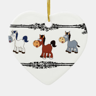 triple horse frame ceramic ornament