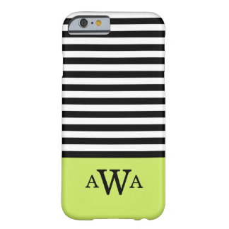 Triple Letter Monogram Green Black White Stripes Barely There iPhone 6 Case