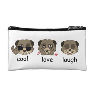 Triple meerkat expression cosmetic bags