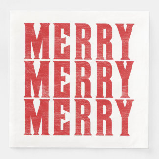 Triple Merry Text Square Paper Napkin