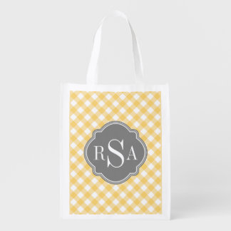 Triple Monogram Grey Yellow Gingham Pattern Market Tote