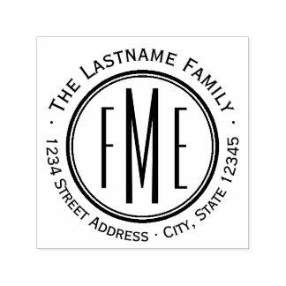 Triple Monogram / Name & Return Address Art Deco Self-inking Stamp