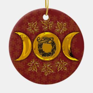 Triple Moon & Holly Wreath #4 Ceramic Ornament