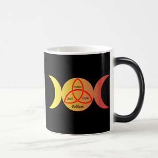 triple moon on black background with triquetra 2 magic mug