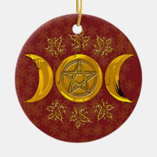Triple Moon & Pentacle #3 Ceramic Ornament