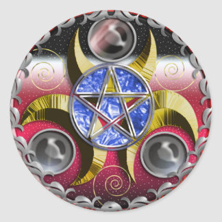 triple moon pentacle classic round sticker