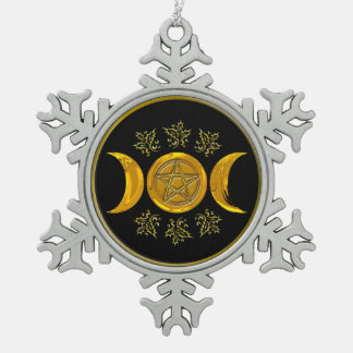 Triple Moon & Pentacle - Pewter Snowflake 1 Pewter Snowflake Ornament