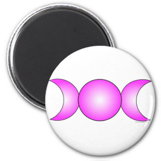 triple Moon - pink gradient 2 Inch Round Magnet