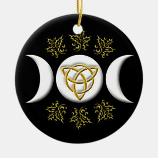 Triple Moon & Tri-Quatra #1 Round Ceramic Ornament