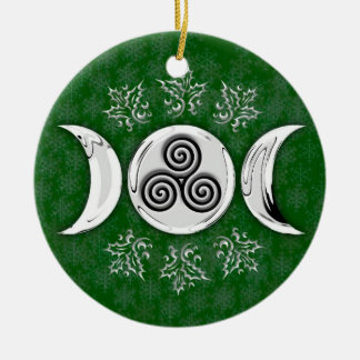 Triple Moon & Triple Spiral #17 Ceramic Ornament