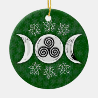 Triple Moon & Triple Spiral #17 Round Ceramic Ornament