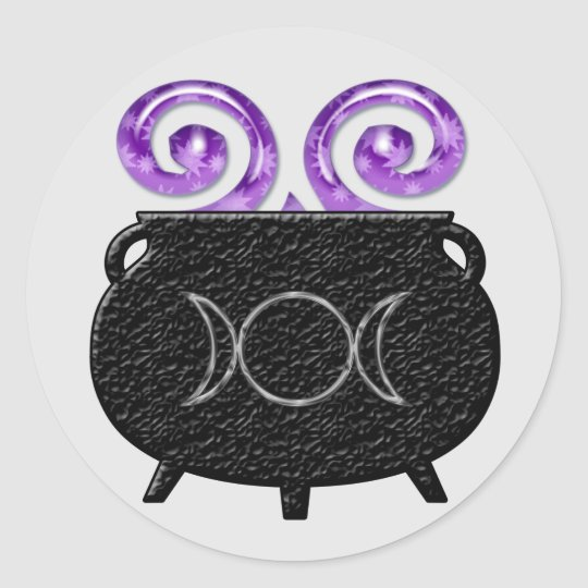Triple Moon Witch Brew Cauldron Stickers