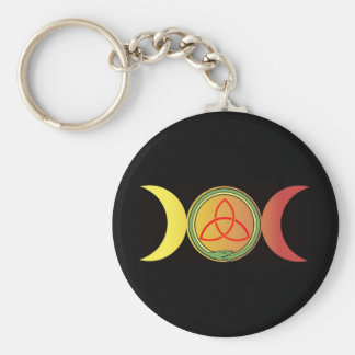 triple moon with green ouroboros and red triquetra keychain